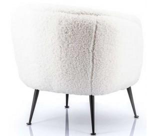 Lænestol i polyester og metal H71 cm - Hvid