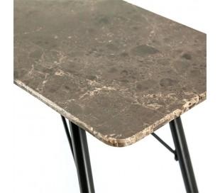 Konsolbord i jern og marmor 120 x 36 cm - Sort/Brun