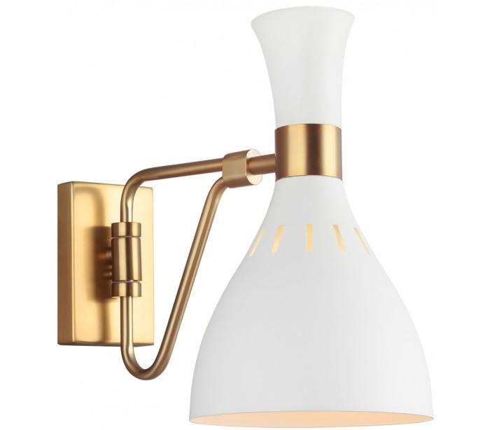 Joan 1 væglampe h27,3 cm 1 x e27 - hvid/brændt messing fra feiss lighting på lepong.dk