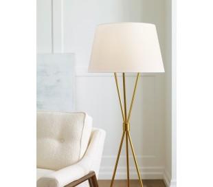 Penny Tripod Gulvlampe H139,7 cm 1 x E27 - Brændt messing/Hvid