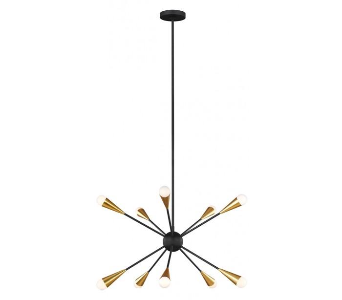 Jax 10 lysekrone i messing og stål ø70,5 cm 10 x g9 led - sort/brændt messing fra feiss lighting på lepong.dk