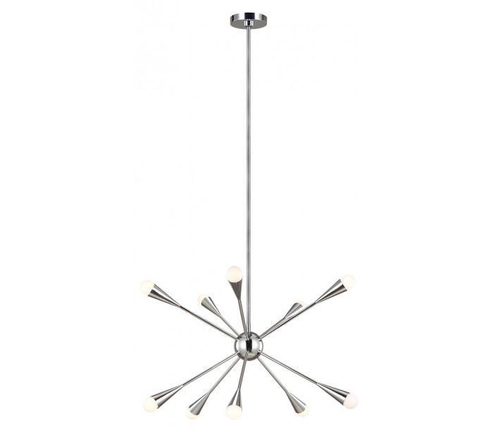 feiss lighting Jax 10 lysekrone i stål ø70,5 cm 10 x g9 led - poleret nikkel på lepong.dk