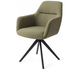 2 x Kinko Rotérbare Spisebordsstole H84 cm polyester - Sort/Jægergrøn