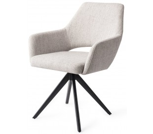 2 x Yanai Rotérbare Spisebordsstole H86 cm polyester - Sort/Duegrå