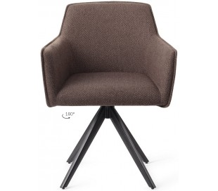 2 x Hofu Rotérbare Spisebordsstole H82 cm polyester - Sort/Lerbrun