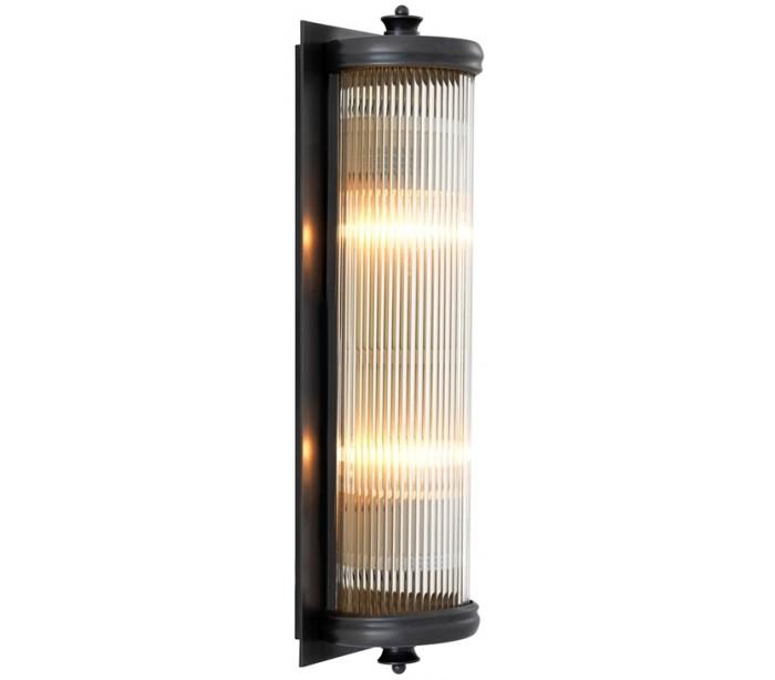 Glorious l væglampe h43 cm 2 x e27 - antik bronze/klar rillet fra eichholtz fra lepong.dk