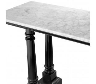 Walford konsolbord i marmor og mahognitræ 160 x 50 cm - Sort/Hvid