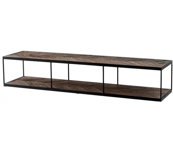 eichholtz – La varenne sofabord i egetræ og metal 190 x 45 cm - sort/rustik eg på lepong.dk