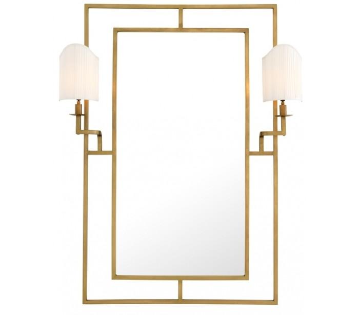 Astaire spejl med 2 x lamper 140 x 113 cm - antik messing fra eichholtz på lepong.dk