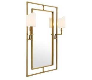 Astaire spejl med 2 x lamper 140 x 113 cm - Antik messing
