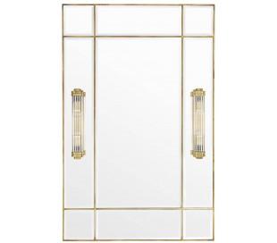 Beaumont spejl med 2 x lamper 140 x 90 cm - Antik messing
