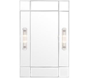 Beaumont spejl med 2 x lamper 140 x 90 cm - Nikkel