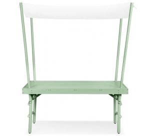 Pim havebord med dække i birketræ 168 x 72 cm - Lergrå