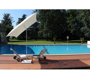 Maffei Pool parasol i batyline og stål 180 x 180 cm - Hvid
