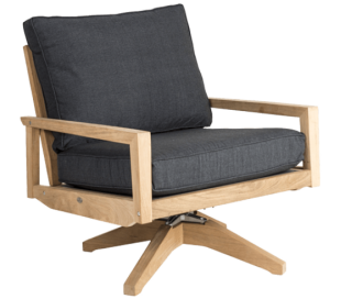 Roble rotérbar Lounge Havestol i træ H88 cm - Natur/Charcoal