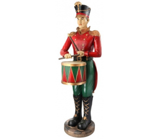 Soldat i polyresin og fiberglas H168 cm - Antik rød/Antik grøn