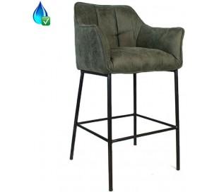 Aaron Barstol i læderlook H110 cm - Industriel sort/Olivengrøn