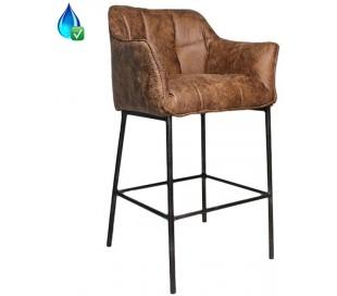 Aaron Barstol i læderlook H110 cm - Industriel sort/Cognac