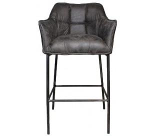 Aaron Barstol i læderlook H110 cm - Industriel sort/Antracit