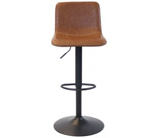Tex Barstol i øko-læder H88 - 110 cm - Sort/Cognac