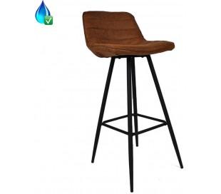 Jackson Barstol i øko-læder H101 cm - Sort/Cognac