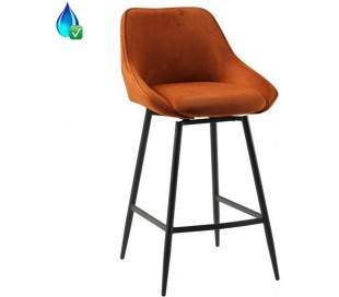 Luna rotérbar barstol i ripcurl H96 cm - Sort/Kobber