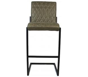 Diamond Barstol i øko-læder H113 cm - Sort/Olivengrøn
