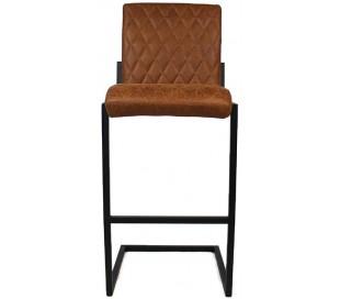 Diamond Barstol i øko-læder H113 cm - Sort/Cognac