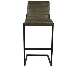 Block Barstol i øko-læder H113 cm - Sort/Olivengrøn