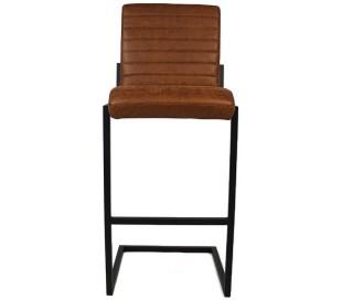 Block Barstol i øko-læder H113 cm - Sort/Cognac