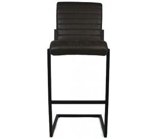 Block Barstol i øko-læder H113 cm - Sort/Antracit