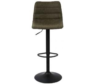 Boston Barstol i øko-læder H82 - 110 cm - Sort/Olivengrøn
