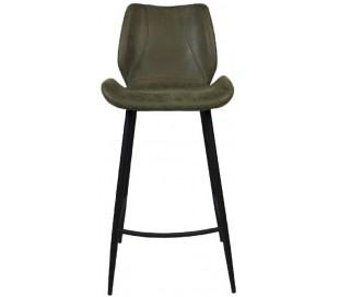 Barrel Barstol i øko-læder H104 cm - Sort/Olivengrøn