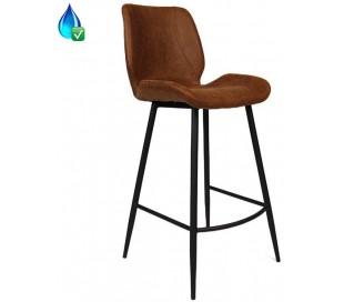 Barrel Barstol i øko-læder H104 cm - Sort/Cognac