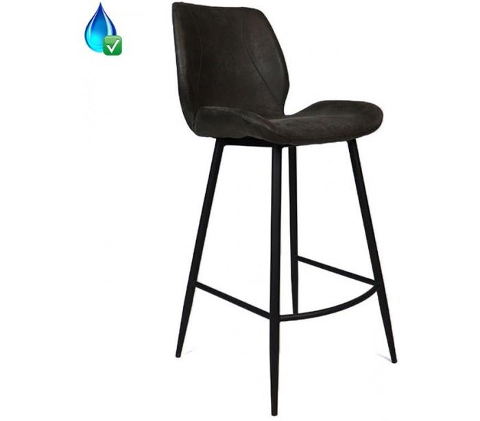 Barrel barstol i øko-læder h104 cm - sort/antracit fra selected by lepong på lepong.dk