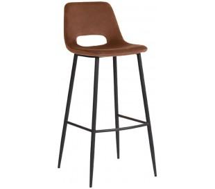 Barstol i velour og metal H107 cm - Rust