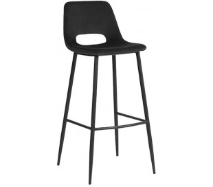 Barstol i velour og metal H107 cm - Sort