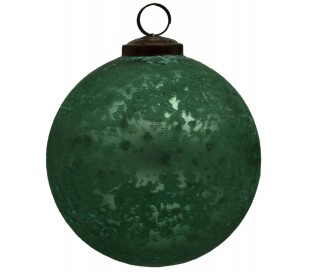 Julekugle i glas Ø12 cm - Antik grøn