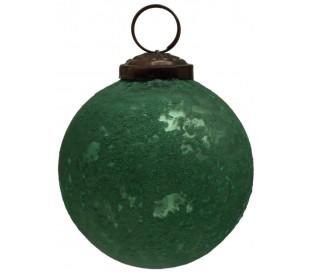 Julekugle i glas Ø8 cm - Antik grøn