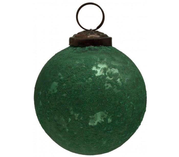 deko light – Julekugle i glas ø8 cm - antik grøn fra lepong.dk