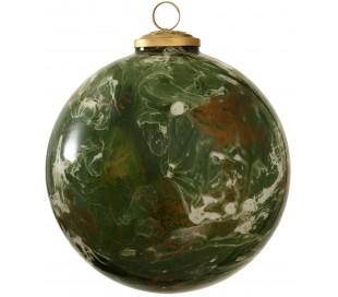 Julekugle i glas Ø15 cm - Grøn marmoriseret