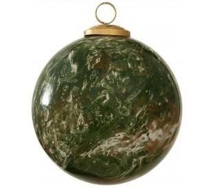 Julekugle i glas Ø12,5 cm - Grøn marmoriseret
