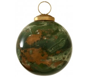 Julekugle i glas Ø7,5 cm - Grøn marmoriseret
