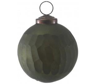Julekugle i glas Ø7 cm - Antik mørkegrøn
