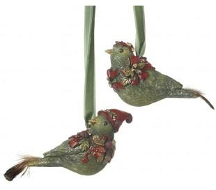 Fugl ophæng i polyresin H8,8 cm assorteret - Grøn