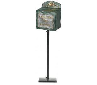 Letter to Santa postkasse i metal og polyresin H100 cm - Sort/Grøn