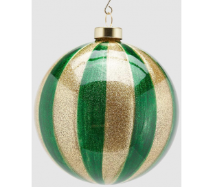 Julekugle i glas Ø12 cm - Guld/Grøn