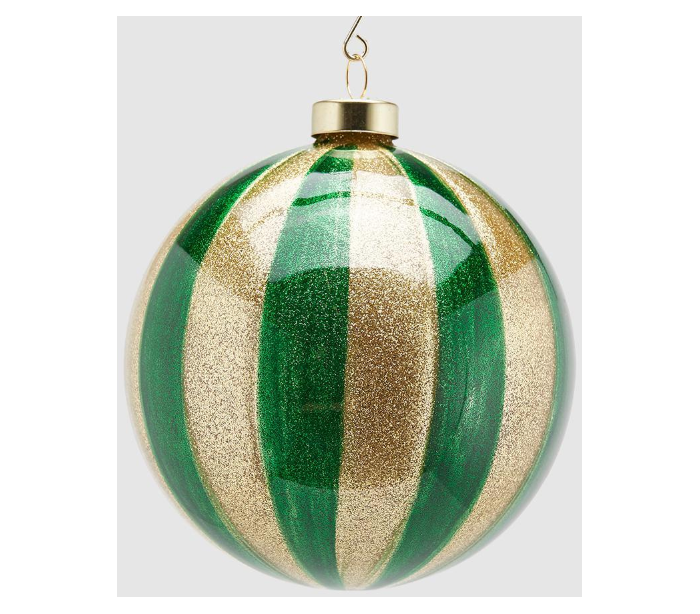 selected by lepong – Julekugle i glas ø12 cm - guld/grøn på lepong.dk