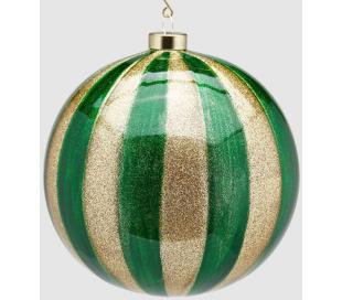 Julekugle i glas Ø15 cm - Guld/Grøn