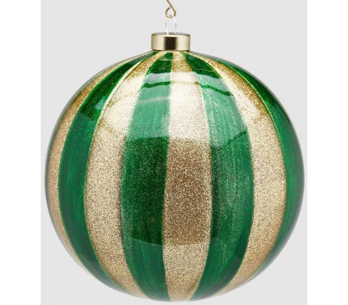 Julekugle i glas ø15 cm - guld/grøn fra selected by lepong fra lepong.dk
